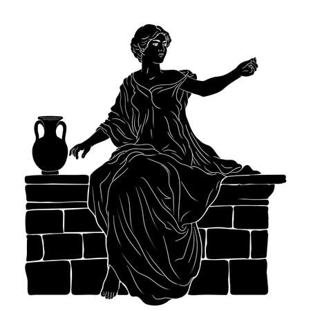 A young slender woman in an ancient Greek tunic sits on a stone parapet next to a jug of wine and gestures. Figure isolated on white background. Vettoriali