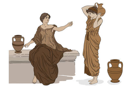 Two ancient Greek women in tunics with clay jugs are talking to each other.