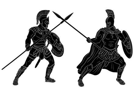 An ancient Greek warrior and a Roman legionnaire in armor and helmets are fighting on spears with shields in their hands. Vector illustration isolated on white background. Vettoriali