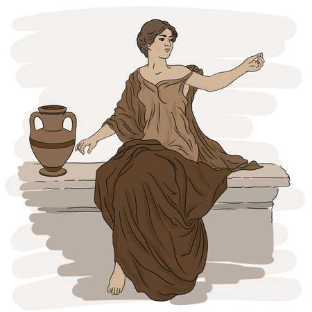 A young slender woman in an ancient Greek tunic sits on a stone parapet next to a jug of wine and gestures.