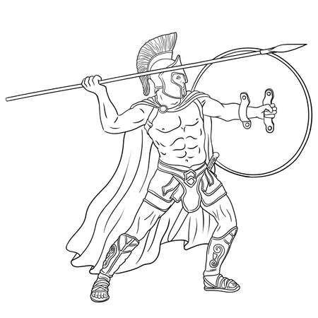 Ancient Greek warrior with a spear and shield in his hands is standing ready to attack. Vector illustration isolated on white background.