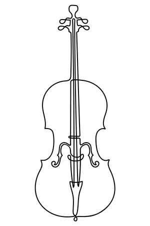 One line drawing. Musical acoustic instrument cello with strings.