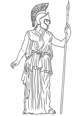 Ancient Greek goddess Pallas Athena in a helmet with a spear in her hand stands next to the column .. Vector illustration isolated on white background.