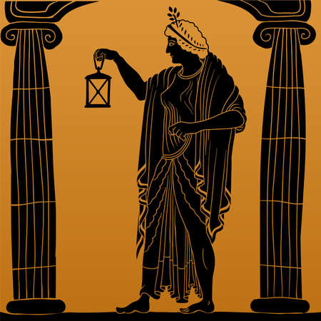 An ancient Greek young woman with a laurel wreath on his head in a tunic and cape stands between two columns and holds a lantern in his hand. Vettoriali
