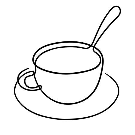 One line drawing. A cup of coffee with a saucer and spoon. 矢量图像