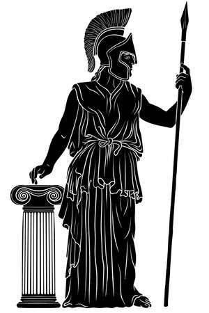 Ancient Greek goddess Pallas Athena in a helmet with a spear in her hand stands next to the column. Vector illustration isolated on white background.