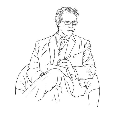 Business man in a suit with glasses sits in an armchair and makes notes in a notebook. 矢量图像