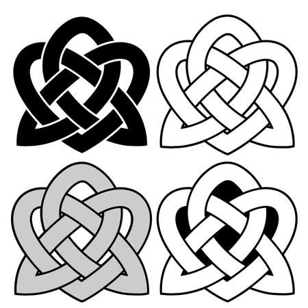 Celtic national ornament tattoo in the shape of a heart isolated on white background.