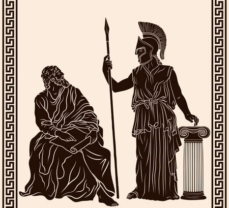 Ancient Greek old man philosopher sage sits with papyrus in his hands and goddess Pallas Athena in a helmet with a spear in her hand stands next to the column.