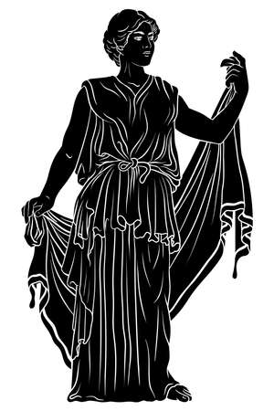 An ancient Greek young woman in a tunic and cape stands looks away and gestures. 矢量图像