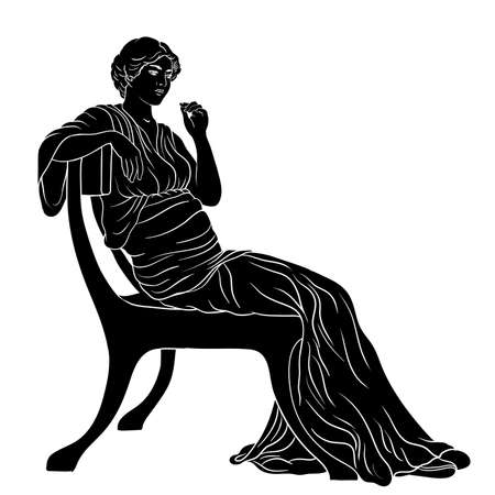 An ancient Greek young woman in a tunic sits on a chair. Silhouette isolated on white background.