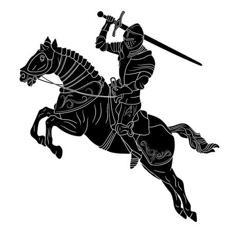 A knight in medieval armor on horseback with a sword in his hands prepares to strike. Figure isolated on white background.