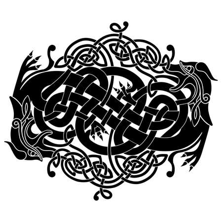 Ornament in the form of two braided dragons in the Celtic national style isolated on a white background.