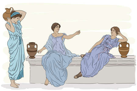 Three ancient Greek women in tunics with clay jugs are talking to each other. Vettoriali