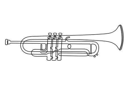 One line drawing. Musical wind instrument trumpet. Vettoriali