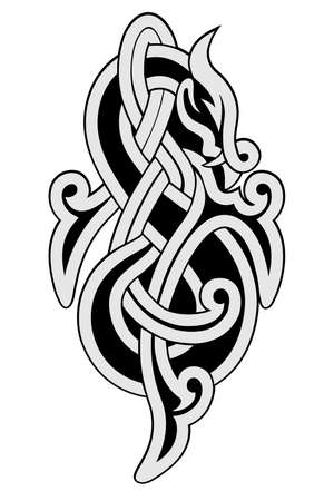 Ornament in the form of dragon in the Celtic national style isolated on a white background.