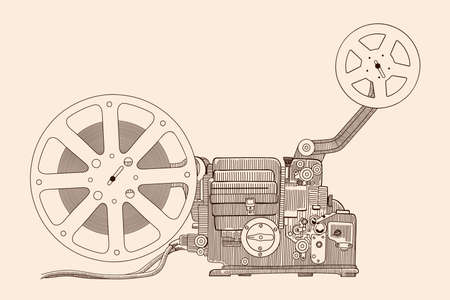 Retro cinema projector for showing the film on the screen. Vettoriali