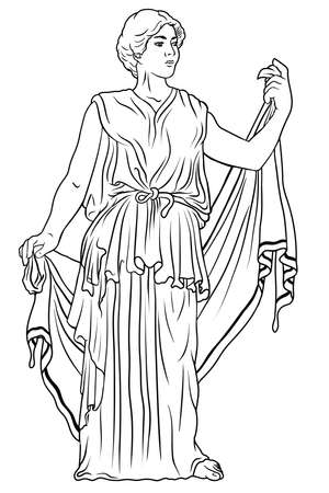 An ancient Greek young woman in a tunic and cape stands looks away and gestures. Vettoriali