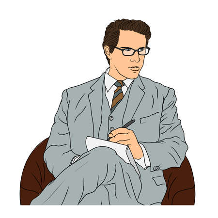 Business man in a suit with glasses sits in an armchair and makes notes in a notebook. Vettoriali