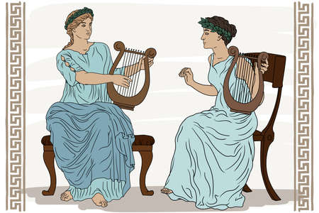 Two ancient Greek women with laurel wreaths on their heads and with harps in their hands are playing music. Vettoriali
