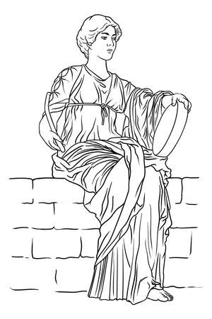 An ancient Greek young woman with a tambourine and a beater in her hands sits on a stone parapet. Vettoriali