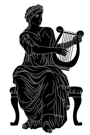 Ancient Greek woman goddess of art with a harp in her hand and a laurel wreath on her head.