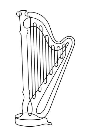 One line drawing. Musical acoustic instrument harp with strings.