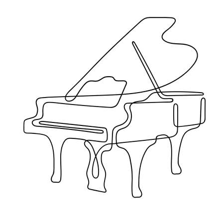 One line drawing. Musical acoustic instrument grand piano with an open lid.