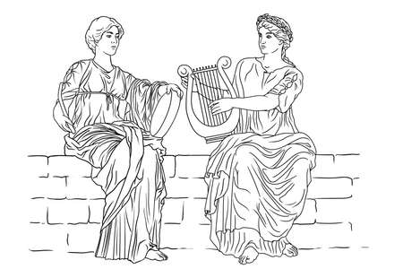 Two ancient Greek women with laurel wreaths on their heads and with harps and tambourine in their hands are playing music.