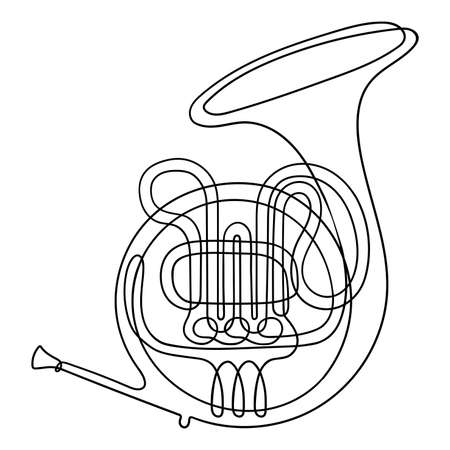 One line drawing. Musical wind instrument French horn. Vettoriali