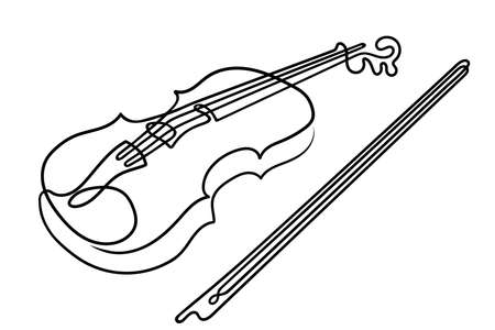 One line drawing. Musical acoustic instrument violin with strings and bow. Archivio Fotografico - 164675630