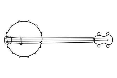 One line drawing. Musical acoustic instrument banjo with strings.