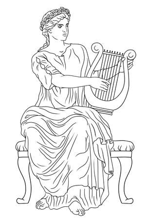 Ancient Greek woman goddess of art with a harp in her hand and a laurel wreath on her head. Vettoriali