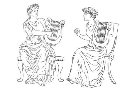 Two ancient Greek women with laurel wreaths on their heads and with harps and in their hands are playing music.
