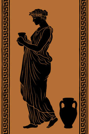A young slender ancient Greek woman stands and holds a clay jug in her hands.