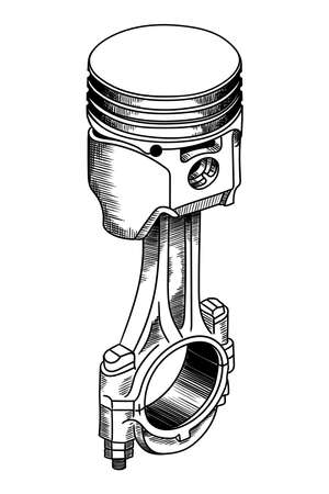Piston assembly with connecting rod. Detail of a car internal combustion engine.