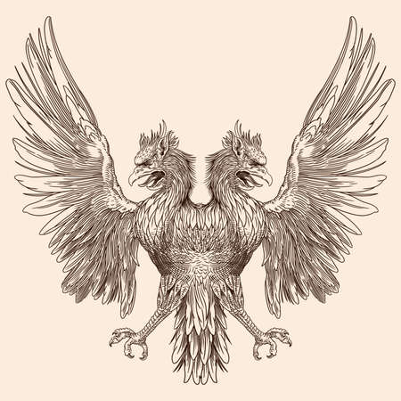 Two-headed eagle with outstretched wings. Heraldic sign isolated on beige background. Ilustração