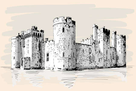 Medieval stone castle with towers and arches on the sea shore. Ilustração
