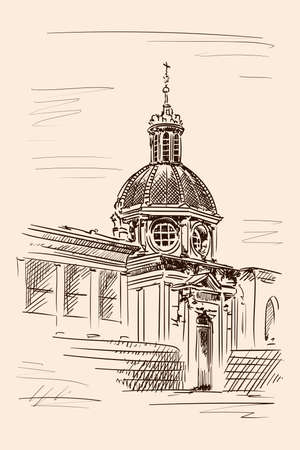 Sketch of the dome of the cathedral in the classical style with arches, statues and clocks. Sketch on a beige background.