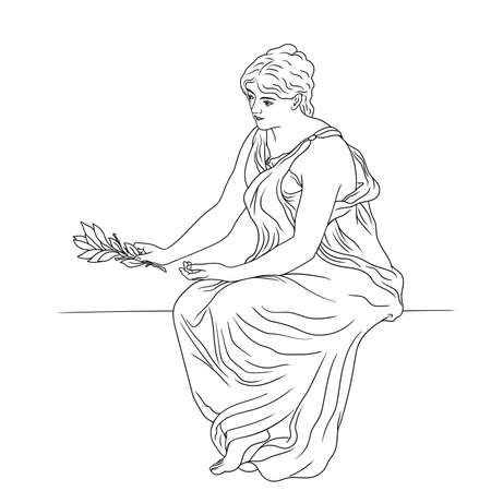 A young slender woman in an ancient Greek tunic sits on a stone parapet and holds a laurel branch in her hand. Figure isolated on white background.