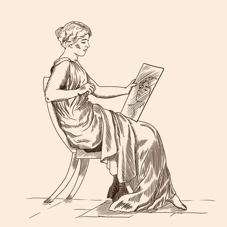 A young slender woman in an ancient Greek tunic sitting on a chair and looking at his reflection in the mirror. Figure isolated on beige background.