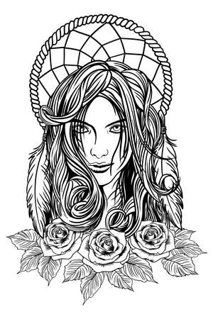 Vector image, the face of a beautiful young girl with long wavy hair looking into the frame, dream catcher and roses.