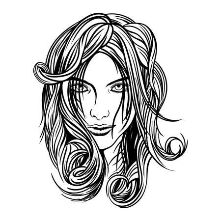 Vector image, the face of a beautiful young girl with long wavy hair looking into the frame. Ilustração