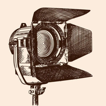 Constant light illuminator with curtains and fresnel lens on a stand for filming movies. The device is isolated on a beige background.
