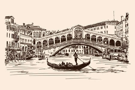 Old Rialto Bridge over the Grand Canal in Venice. Vector drawing.