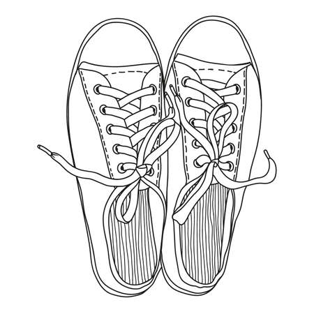 Vector drawing of a pair of gym shoes with rubber soles and with laces isolated on a white background. Иллюстрация
