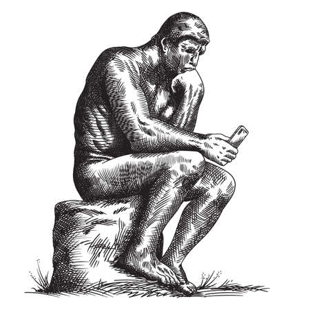 Statue of the sculptor Rodin Thinker with a smartphone in his hands.