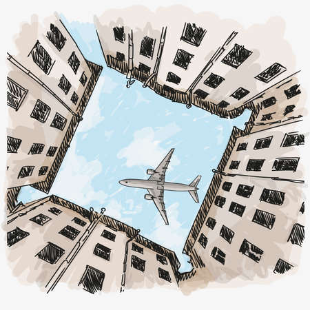 Sky view from a courtyard surrounded by multi-storey buildings. The plane is flying in the sky. Quick hand sketch. Иллюстрация