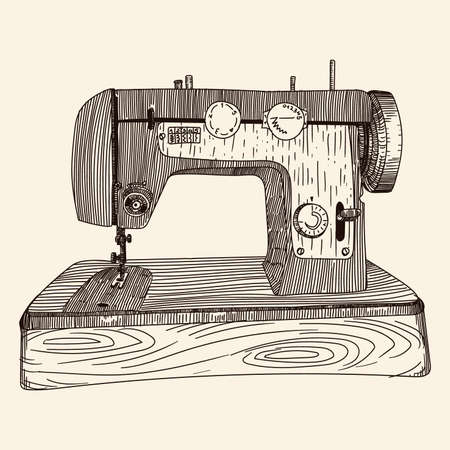 Antique hand sewing machine on a wooden base. A quick simple pencil sketch.