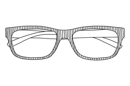 Glasses with lenses for improving vision. Vector image isolated on white background.